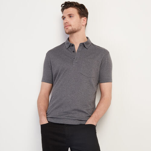 Roots-Men Clothing-Jersey Peppered Polo-Charcoal Pepper-A