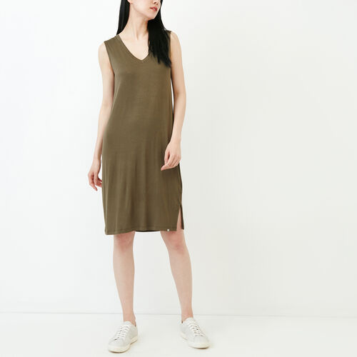 Roots-Women Categories-Georgian V Neck Dress-Fatigue-A