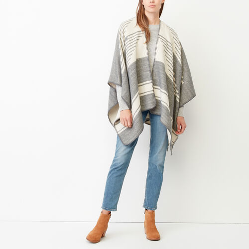 Roots-Women Accessories-Tolman Wrap-Grey Mix-A