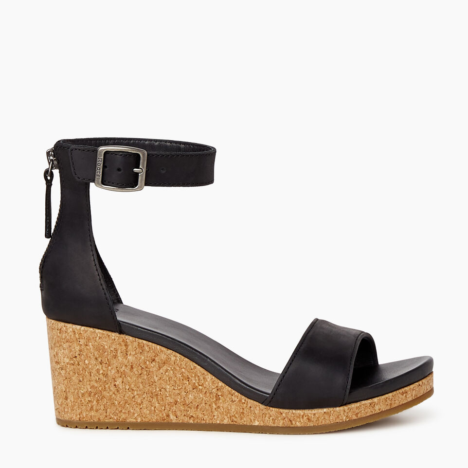 Roots-Footwear Categories-Womens Cranston Ankle Strap Wedge-Black-A