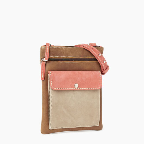 Roots-Leather Crossbody-Liberty Pouch - Colour Block-Coral-A