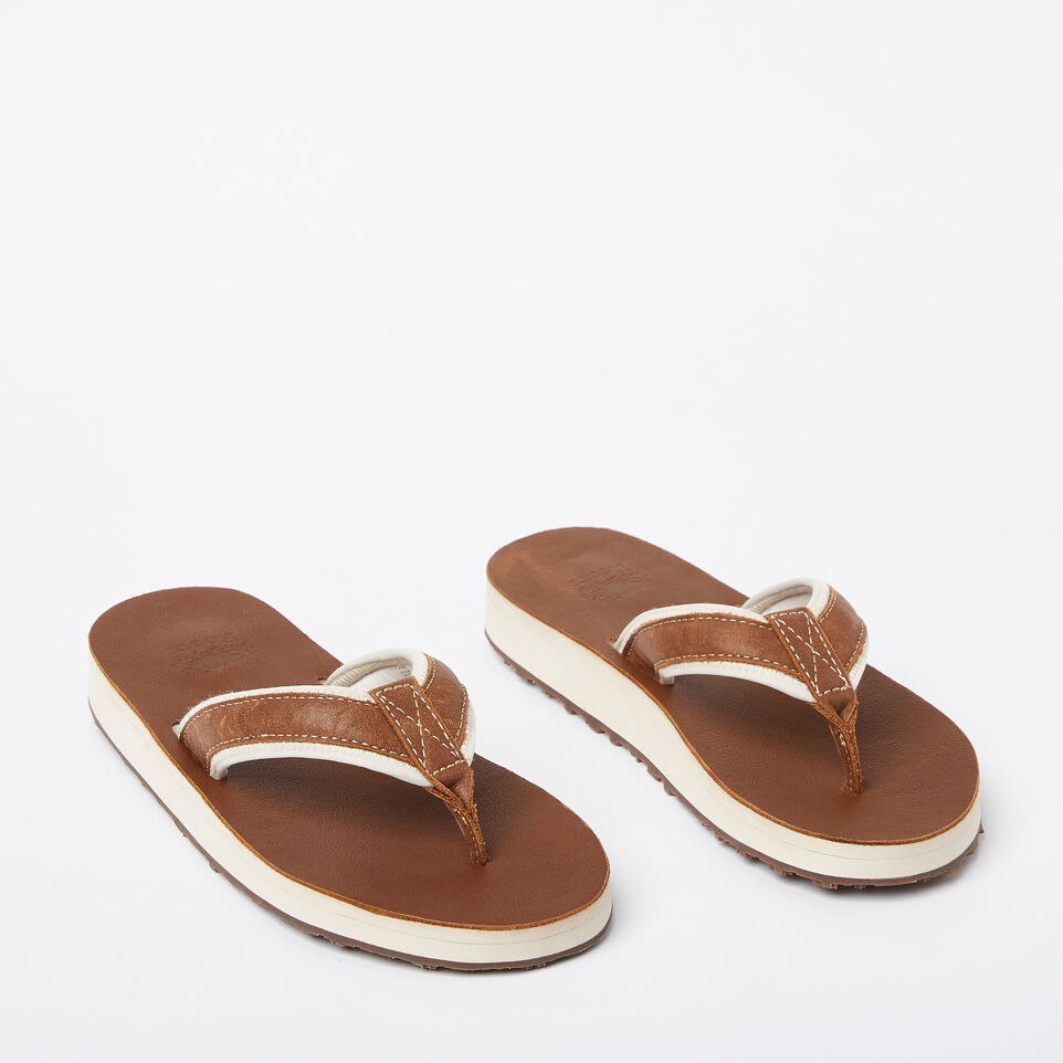 Roots-Women Footwear-Womens Tofino Flip Flop Leather-Natural-B
