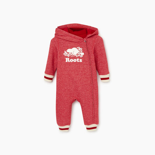 Roots-Clearance Baby-Baby Roots Cabin Cozy Romper-Cabin Red Pepper-A