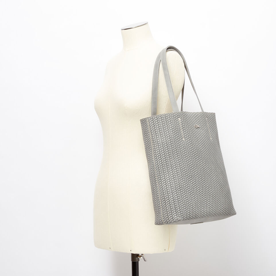 Roots-Leather Handbags-Large Downtown Tote Woven Tribe-Quartz-B