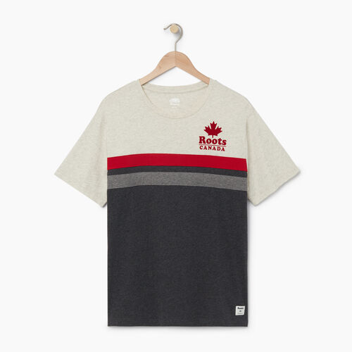 Roots-Men Graphic T-shirts-Mens Canada Cabin T-shirt-White Grey Mix-A