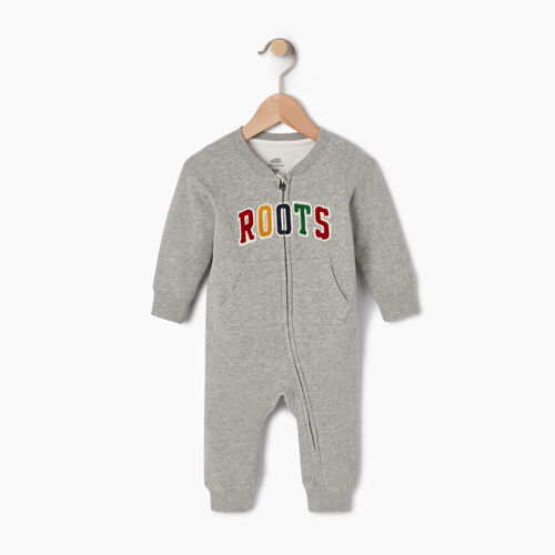 Roots-Kids Categories-Baby Roots Varsity Romper-Grey Mix-A