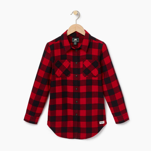 Roots-New For October Kids-Girls Park Plaid Shirt-Lodge Red-A