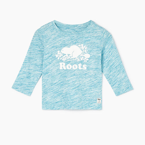 Roots-Kids T-shirts-Baby Original Cooper Beaver T-shirt-Moroccan Blue Mix-A
