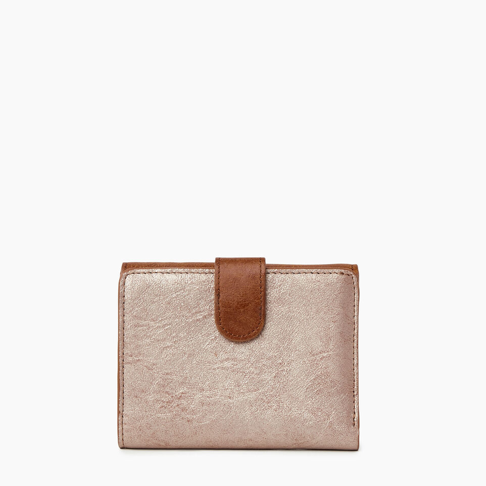 Roots-Women Clothing-Medium Tab Wallet-Champagne/ Natural-B