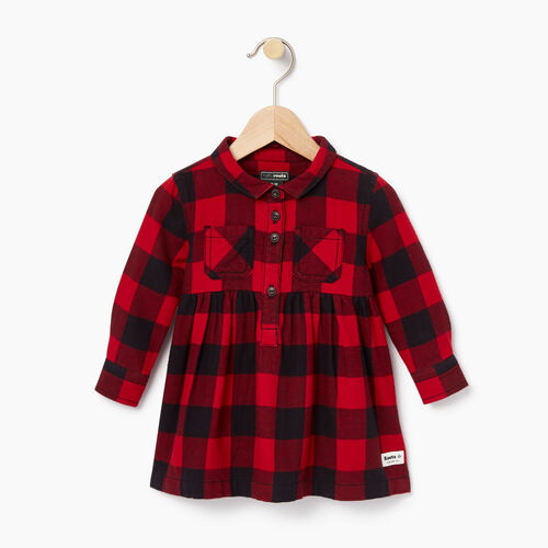Roots-New For October Kids-Baby Park Plaid Dress-Lodge Red-A