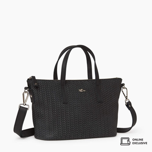 Roots-Leather Crossbody-Small Zoe Bag Woven-Jet Black-A
