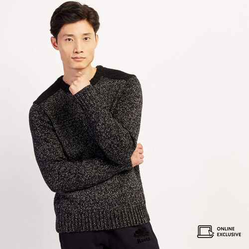 Roots-Men Tops-Snowy Fox Colour Blocked Crew Sweater-Black Fox-A