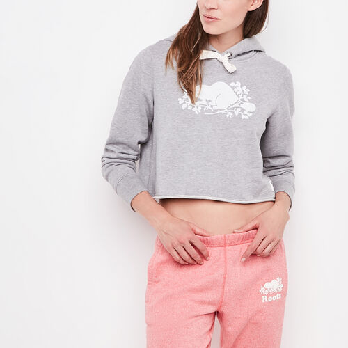 Roots-Women New Arrivals-Busted Cooper Cropped Hoody-Grey Mix-A