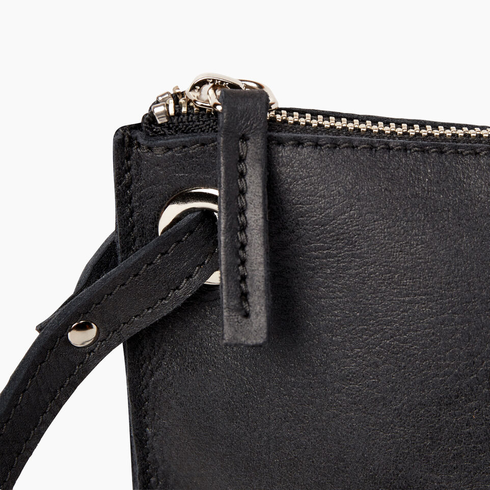 Roots-Leather  Handcrafted By Us Handbags-Festival Bag-Jet Black-F