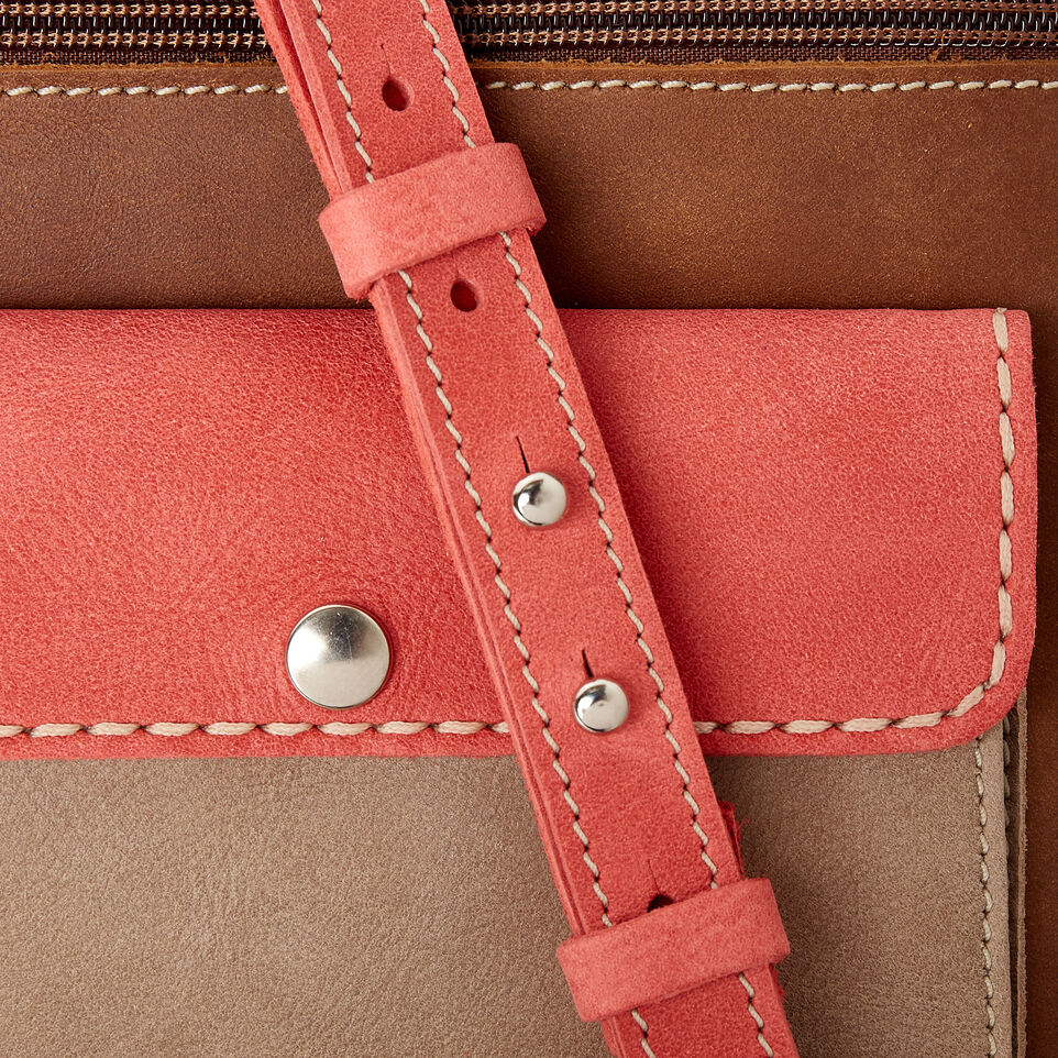 Roots-Leather  Handcrafted By Us Our Favourite New Arrivals-Liberty Pouch - Colour Block-Coral-E