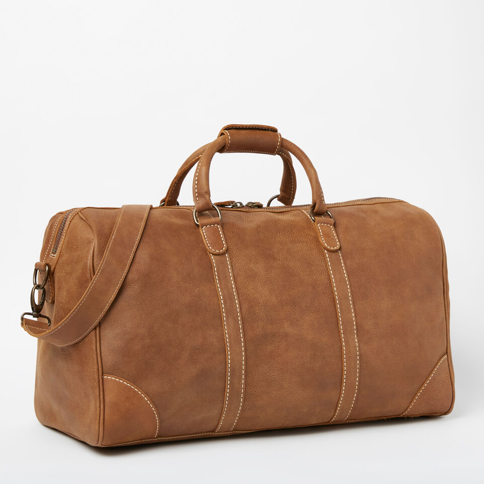 Roots-Leather Weekender Bags-Large Banff Bag-Natural-C
