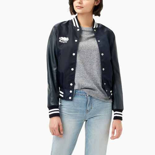 Roots-Leather  Handcrafted By Us Women's Award Jackets-Retro Varsity Jacket-Navy-A