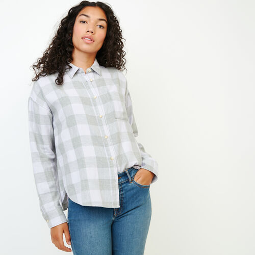 Roots-Women Our Favourite New Arrivals-Box Cut Flannel Shirt-Thistle-A