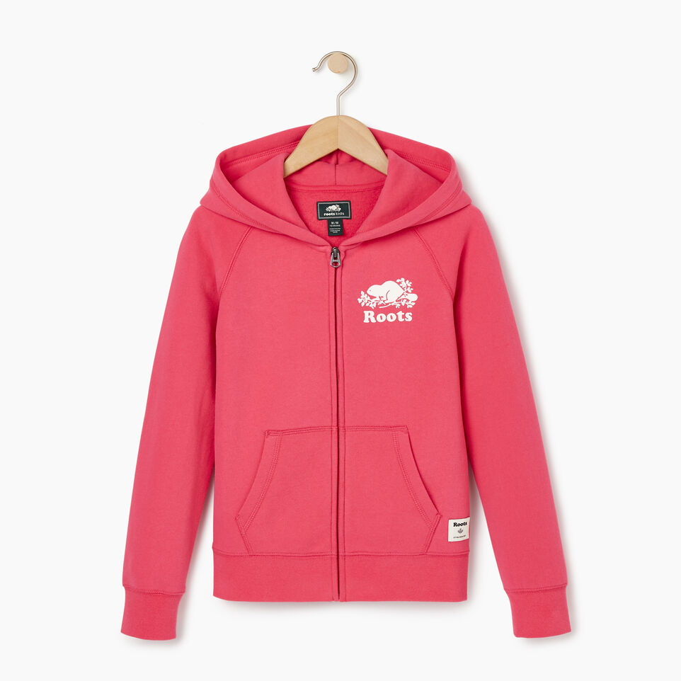 Roots-Clearance Kids-Girls Original Full Zip Hoody-Pink Flambé-B