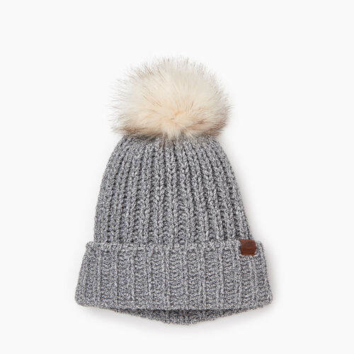 Roots-Kids Girls-Kid Girl Chenille Toque-Salt & Pepper-A