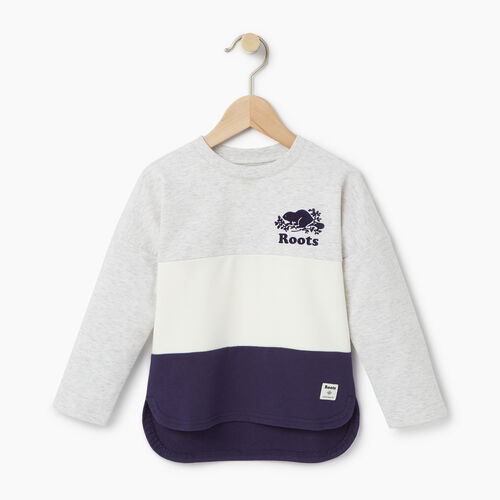Roots-Clearance Kids-Toddler Colour Block Sweatshirt-White Mix-A
