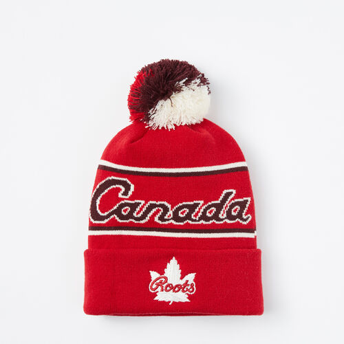 Roots-Sale Accessories-Canada Heritage Pom Pom Toque-Maple Red-A