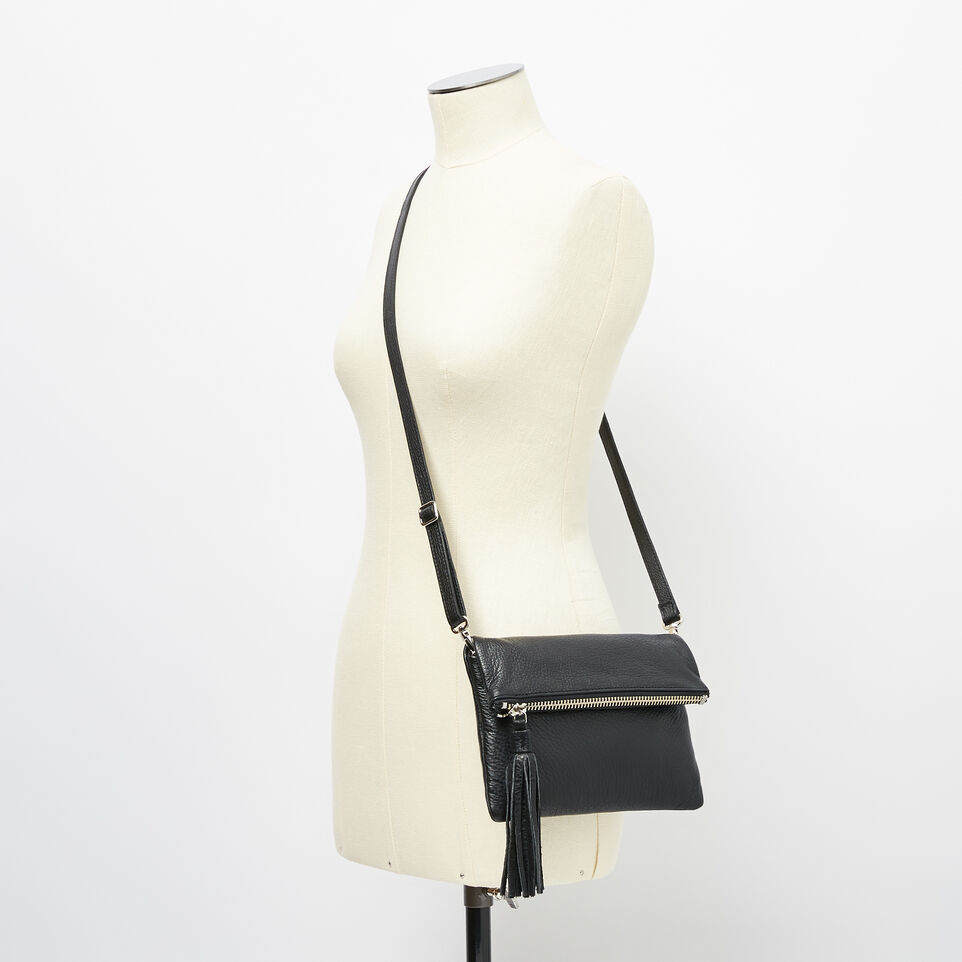 Roots-Leather  Handcrafted By Us Crossbody-Anna Clutch Prince-Black-B