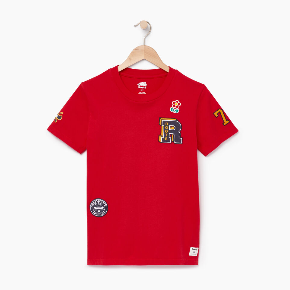 Roots-Women Our Favourite New Arrivals-Womens Patches T-shirt-Racing Red-A