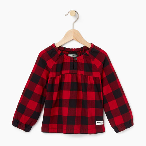 Roots-Kids Tops-Toddler Park Plaid Shirt-Lodge Red-A