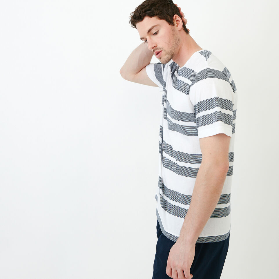 Roots-Men Our Favourite New Arrivals-Mercer Striped T-shirt-White-C