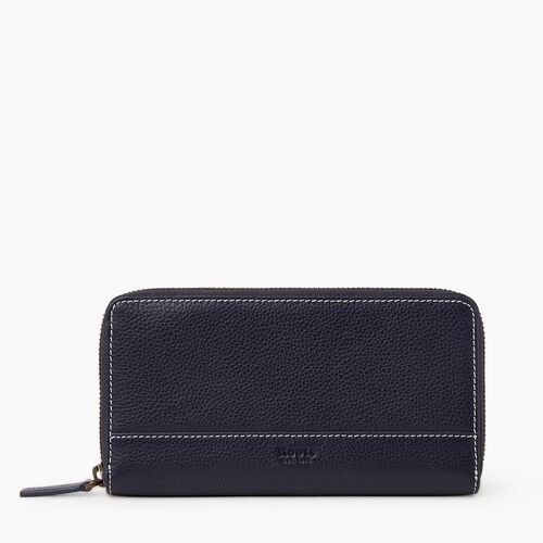 Roots-Leather Wallets-Zip Around Clutch Cervino-Navy-A