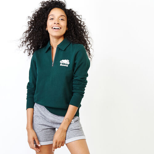 Roots-Women Our Favourite New Arrivals-Original Zip Polo-Varsity Green-A