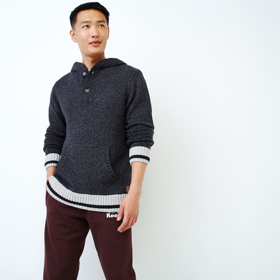 Roots-Men Our Favourite New Arrivals-Cotton Cabin Anorak Sweater-Black Speckle-A