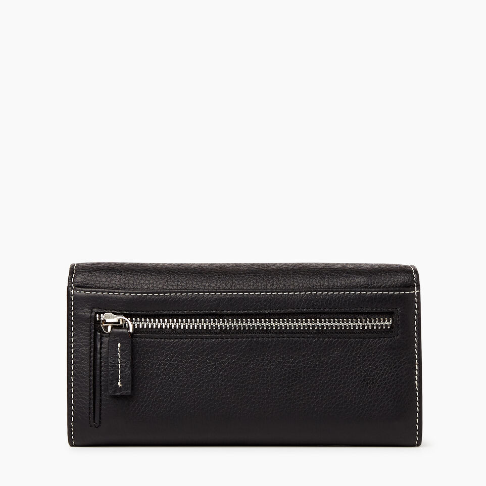Roots-Women Wallets-Large Chequebook Clutch-Black-B
