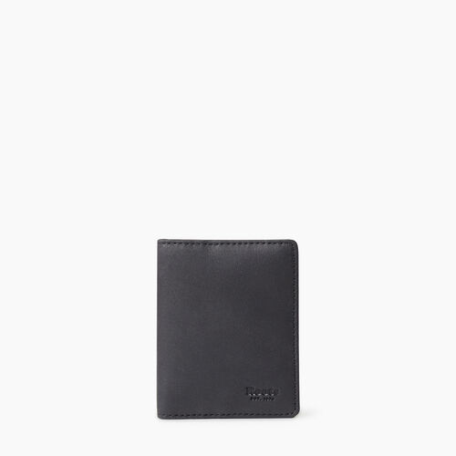 Roots-Leather  Handcrafted By Us Tribe Leather-Money Clip Bifold Tribe-Jet Black-A