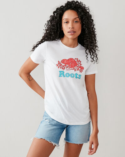 Roots-Women Bestsellers-Womens Cooper Beaver T-shirt-White-A