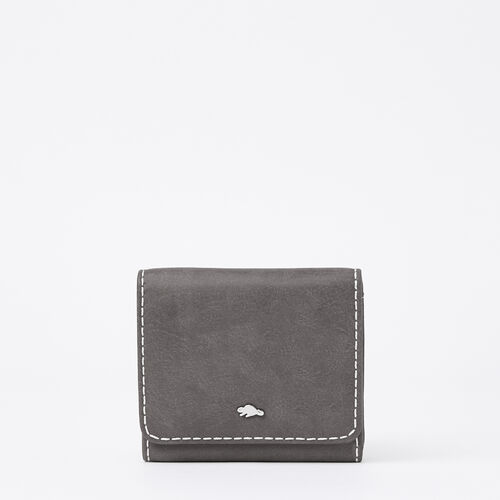 Roots-Leather Women's Wallets-Easy Trifold Wallet Tribe-Charcoal-A
