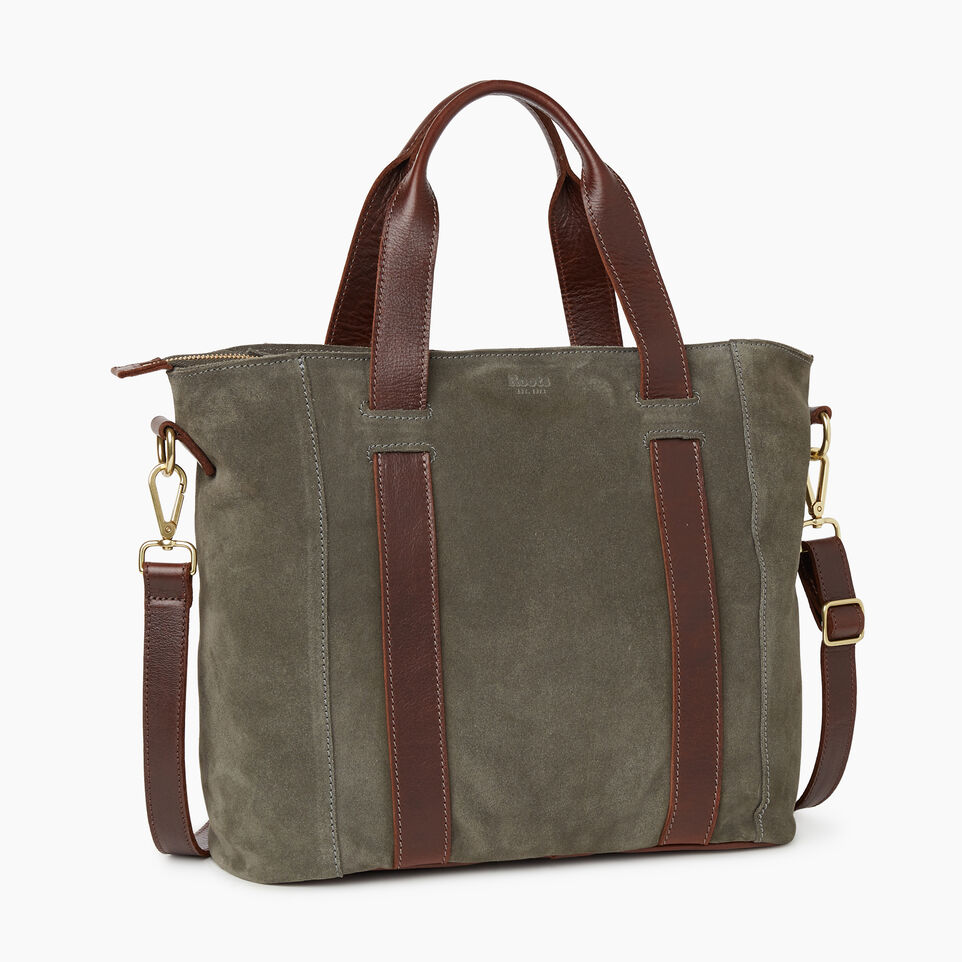 Roots-Women Clothing-Victoria Tote Suede-Fatigue-C