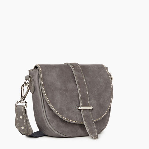 Roots-Women Crossbody-City Side Saddle Tribe-Charcoal-A