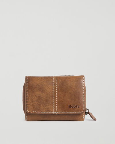 Roots-Leather Wallets-Small Trifold Clutch Tribe-Natural-A