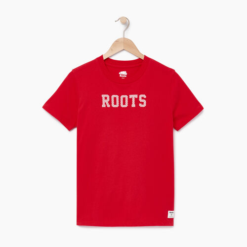 Roots-Women Graphic T-shirts-Womens Maple Roots T-shirt-Racing Red-A