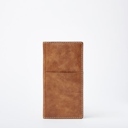 Roots-Leather Travel Wallets-Ticket Wallet Tribe-Natural-A