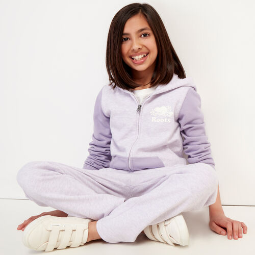 Roots-Sweats Girls-Girls Original Full Zip Hoody-Wisteria Mix-A