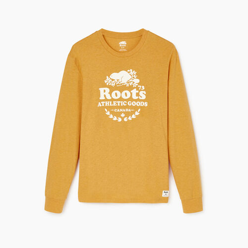 Roots-Men Our Favourite New Arrivals-Mens Laurel Long Sleeve T-shirt-Yellow Shadow Mix-A