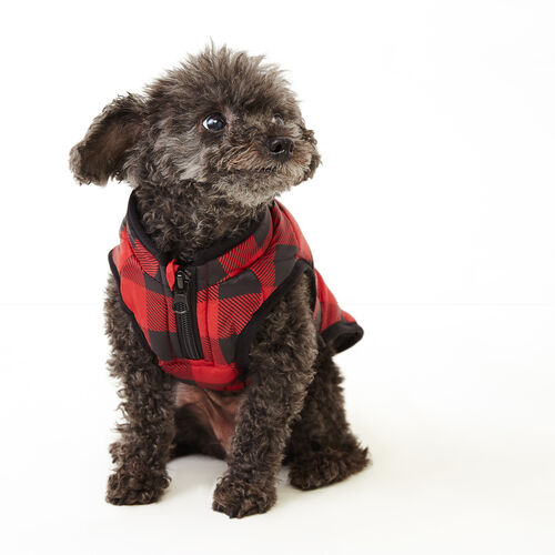 Roots-Women Categories-Pooch Park Plaid Puffer Size 10-Red-A