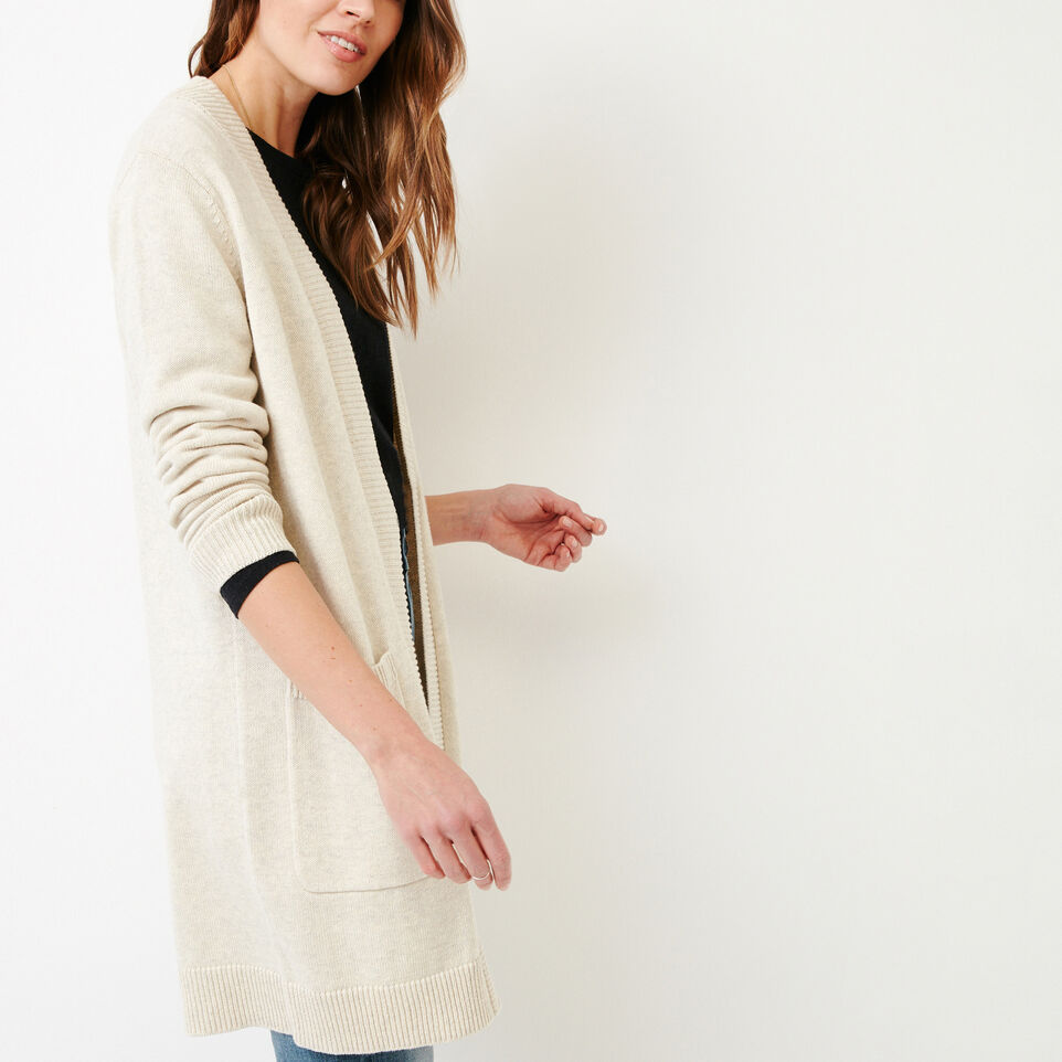 Roots-Women Our Favourite New Arrivals-Ekwan Open Cardigan-Light Oatmeal Mix-C