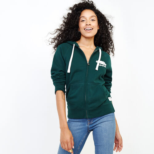 Roots-Women Categories-Original Full Zip Hoody-Varsity Green-A