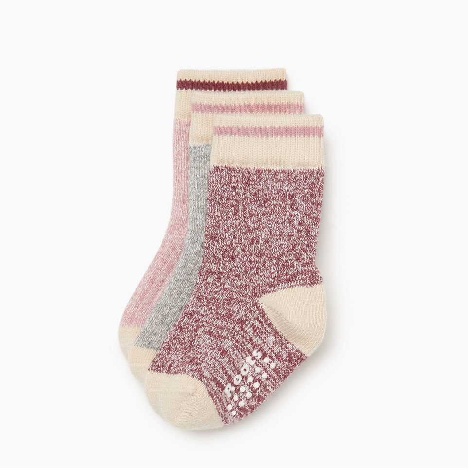 Roots-Kids New Arrivals-Toddler Cabin Sock 3 pack-Pink-A