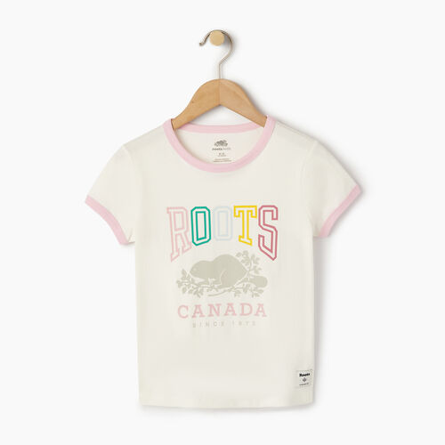 Roots-Kids T-shirts-Girls Roots Classic Ringer T-shirt-Cloudy White-A
