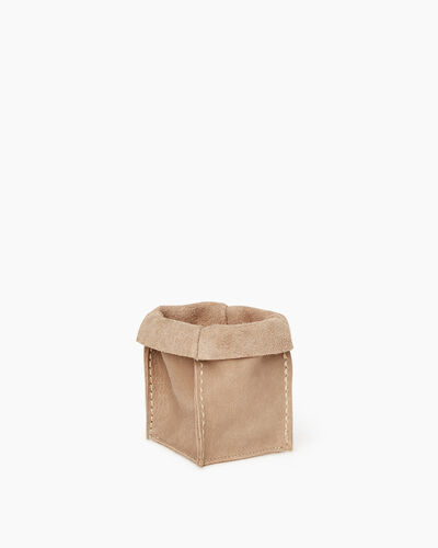 Roots-Articles En Cuir Maison Roots-Petit panier en cuir Tribe-Sable-A
